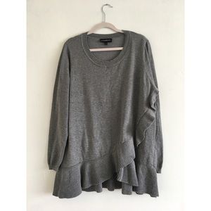Gray Knit Ruffle Blouse 18/20
